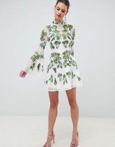 add210e4a9 Floral Embroidered Mini Dress - ASOS Asos Dress