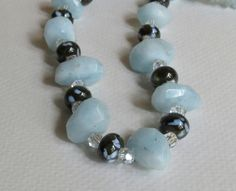 Aquamarine Nuggets Necklace with Lampwork Beads by Smokeylady54