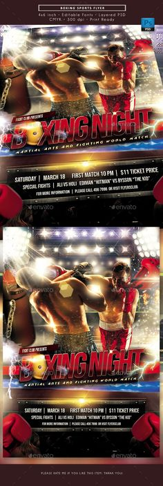 Buy Boxing Sports Games Flyer by rudyvector on GraphicRiver. Perfect as boxing flyer, boxing match flyer, fight night flyer, sports flyer, martial arts flyer. Sports Flyer, Sports Games, Combat Sport, Fight Night, Muay Thai, Boxing, Martial Arts, Invitation, Garden