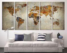 Canvas print abstract wall art horizontal lanscape horizontal sky world map canvas art print large wall art by extralargewallart sciox Images