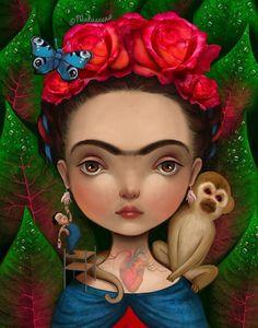 Imagen vía We Heart It https://weheartit.com/entry/136361696/via/10278511 #art #beautiful #drawing #fridakahlo #heart #illustration #monkey