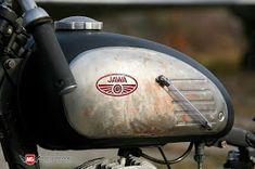 ukraine-built jawa two-stroke thumper bobber Bobber Motorcycle, Motorcycle Design, Motorcycle Outfit, Helmet Tattoo, Cafe Racer Honda, Wonderful Machine, Old Bicycle, Old Motorcycles, Motor Scooters