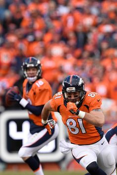 . DENVER, CO - JANUARY 24: Owen Daniels (81) of the Denver Broncos runs a route as Peyton Manning (18) of the Denver Broncos drops back to pass. The Denver Broncos played the New England Patriots in the AFC championship game at Sports Authority Field at Mile High in Denver, CO on January 24, 2016. (Photo by Joe Amon/The Denver Post)