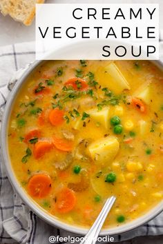 This Creamy Vegetable Soup is a cozy, comforting vegan recipe that& gluten-free, easy-to-make & loaded with veggies- great for lunch or as a dinner starter Vegetarian Vegetable Soup, Vegetable Soup Crock Pot, Creamy Vegetable Soups, Tasty Vegetarian Recipes, Veggie Recipes, Healthy Recipes, Best Veggie Soup, Recipes With Vegetables, Vegetarian Crockpot Soup