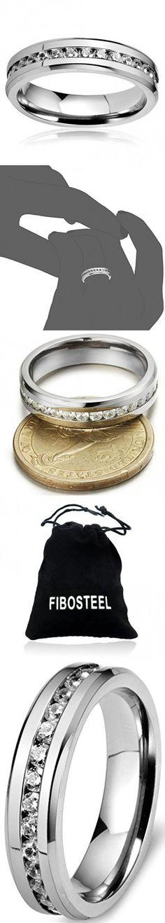 FIBO STEEL 6mm Mens Womens Titanium Ring Engagement Wedding Band Cubic Zirconia Inlaid,Size 9