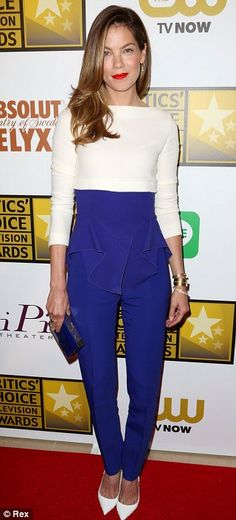 Michelle Monaghan in an Antonio Berardi pantsuit, Christian Louboutin shoes and a Ferragamo bag at the 2014 Critics' Choice Television Awards http://dailym.ai/1iPUozx