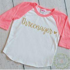 Threenager Shirt, Third Birthday Shirt Girl, Birthday Shirt 3, Three Year Old Birthday Girl Outfit