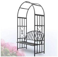 Garden Arch & Metal Bench Floral Seat Outdoor Patio Heart Arbour Decorative Gift