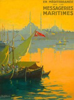 Messageries-Maritimes-Istanbul-Turkey-Vintage-Travel-Art-Advertisement-Poster