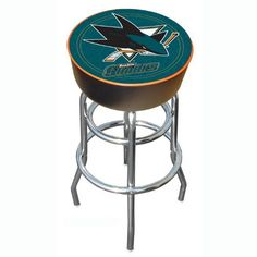 NHL San Jose Sharks Padded Bar Stool by Trademark Global. $79.99. Chrome plated double rung base. Great for gifts and recreation decor. Officially Licensed logo. 7.5 in X 14.75 in diameter padded commercial grade vinyl seat. adjustable levelers. The officially NHL licensed, San Jose Sharks logo padded bar stool will be the highlight of your bar and gameroom. A 30-inch high bar stool great for bar pub table and bars. Great for gifts and recreation decor.