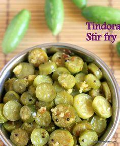 Simple yet yummy tindora stir fry. These tiny circular bites are amazingly tasty to devour with rice-rasam. udupi-recipes.com