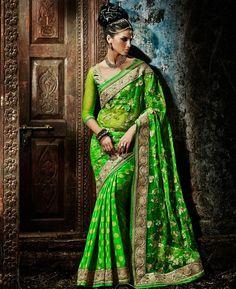 Buy Gorgeous Green Georgette Saree online at  https://www.a1designerwear.com/gorgeous-green-georgette-sarees-5  Price: $75.88 USD