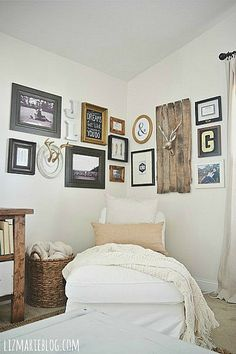 DIY corner gallery wall.. great for large open spaces & displaying things that have meaning!