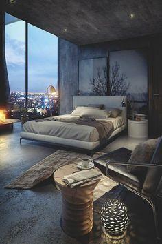 chambre a coucher avec vue, sol en beton grande lit à coucher deux personnes