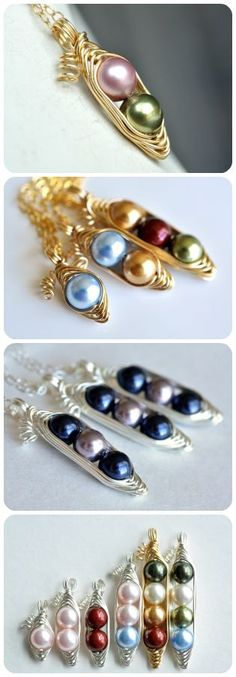 Custom pea pod necklace for moms, sisters, best friends and daughters... from http://muyinjewelry.com