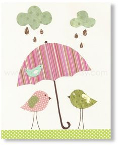 Nursery art prints - baby nursery decor - nursery art - Birds - Singing In The Rain print - by GalerieAnais