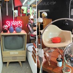 Mid Century Modern Vintage stall at the St. Michel Flea Market in Montreal...would love to own a vintage shop...oh the things I could do!