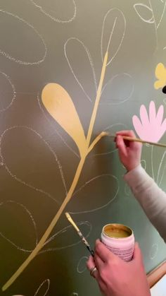 Creative Wall Painting, Wall Painting Decor, Mural Wall Art, Diy Wall Art, Diy Painting, Diy Room Decor For Teens, Art Shed, Flower Mural, Wall Drawing