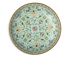 A FINE LARGE TURQUOISE-GROUND FAMILLE-ROSE 'DOUBLE HAPPINESS' DISH<br>SEAL MARK AND PERIOD OF DAOGUANG | Lot | Sotheby's