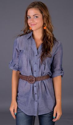 Belted Chambray Top - Ragstock