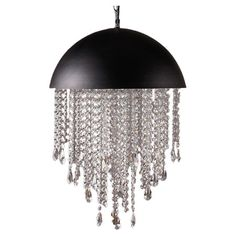 Wow! Love the mixed of Industrial shape of the black dome with a sophistication of the crystal cascade to make it Chic! Will be unexpected on top of a round dinning table!  Stainless steel chandelier with a black dome shade and hanging crystalline strands.      Product: Chandelier    Constructi...