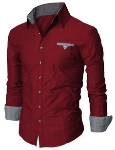 Doublju Mens Dress Shirt with Contrast Neck Band at Amazon Men's Clothing store: Button Down Shirts