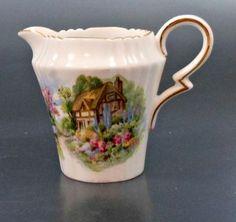 Berkley Square Bone China Scenic Cream Pitcher Made in England Cottage Scene