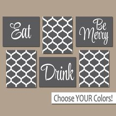 EAT DRINK be Merry CANVAS or Prints Gray Kitchen Wall by TRMdesign
