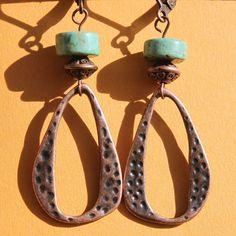 Textured Copper Earrings  Turquoise earrings  by LeBouiBouiaBouBou