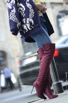 Hypnotizing Fashion - BLOG MODOWY | Stylizacje street style: BURGUND - zamszowe kozaki za kolano i sweter we wzory Thigh High Boots, High Heel Boots, Over The Knee Boots, Shoe Boots, Shoes, Cool High Heels, Sexy Heels, Erotic Photography, Thigh Highs