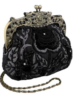 Antique Beaded Rose Evening Handbag, Clasp Purse Clutch w/Removable Chain