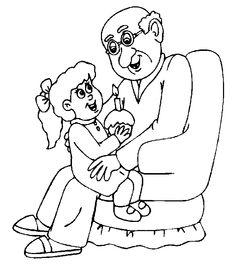 Grandpa and granny coloring pages