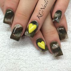 Camouflage acrylic nails, yellow heart. Army nails, support the troops KCNails
