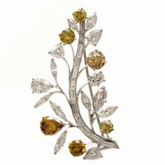 Antique 16.00cts GIA Natural Fancy Diamond Leaf Pin | Dover Jewelry