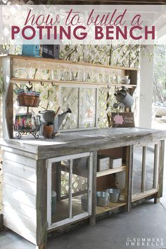 FOR OUTSIDE BEHIND GARAGE!, Big open potting bench, but with space under, for stools! Have you always wanted to create your own potting bench? Learn how to build a potting bench from reclaimed wood and windows here! Outdoor Projects, Garden Projects, Diy Projects, Rustic Gardens, Outdoor Gardens, Potting Station, Potting Tables, Potting Bench With Sink, Greenhouse Plans