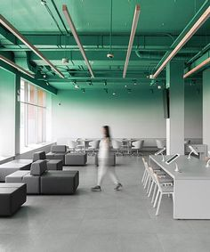 banking office kidz design paints moscow bank offices with bold gradient walls Corporate Office Design, Corporate Interiors, Office Interiors, Corporate Offices, Industrial Office Design, Office Interior Design, Office Designs, Office Ceiling Design, Office Floor