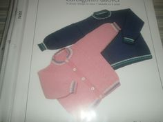 """*4 Infant and Toddler's Cardigan and Pullover - $1.00 plus postage (1 available) Sizes: 3 month - 2 years old. Finished Measurements: Chest 16 1/2"""" - 24"""". Needles: #2 and #3 single pointed needles, #2 (16"""") circulars for collar, 3 stitch holders, cable needle and four to six 1/2"""" buttons."""