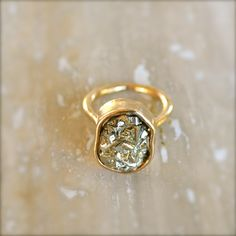 Pyrite Gold Ring. $38,00, via Etsy.