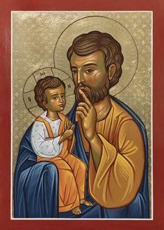 Joseph with Jesus St Joseph Catholic, Catholic Art, Catholic Saints, Patron Saints, Religious Images, Religious Icons, Religious Art, Church Icon, Religious Paintings