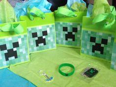 Mine craft birthday! Goodies: diamond pic axe, creeper bracelet, creeper rubber dog tag on chain.