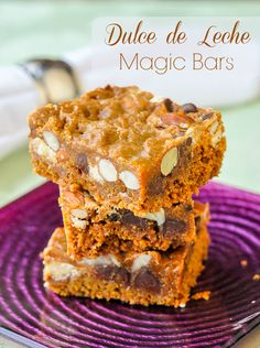 Dulce de Leche Magic Bars with Chocolate & Almonds - a new version of those oh so easy Magic Bars that may just be the best version of this simple to prepare recipe yet.