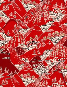 산수화 동양 패턴