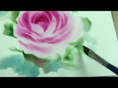 Painting rose In watercolor by teacher Bee - YouTube