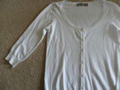ZARA white short 3/4 L sleeve cardigan sz M
