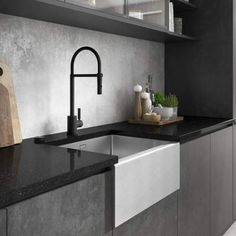 With matt black taps being one of the hottest trends in kitchen design, creating a sleek, sophisticated and modern impression with this must-have look is now simpler than ever, with Abode adding this popular finish across even more of its ranges. Black Kitchen Taps, Black Taps, Kitchen Mixer Taps, Black Kitchens, New Kitchen, Kitchen Decor, Marble Kitchen Ideas, Dark Grey Kitchen, Small Modern Kitchens