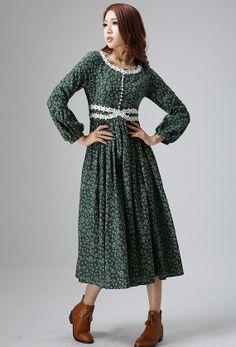 floral print Linen dress woman prom dress custom made maxi dress long sleeve dress with lace detail (809)