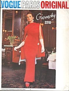 1960s Givenchy Evening Dress and Stole Pattern Vogue Paris Original 2210  Stunning Slim Evening or Cocktail Length Dress Low U Shaped Back Bust 34 Vintage Sewing Pattern