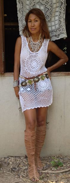 Bohemian Mandala Crochet Dress by PadMa88 on Etsy