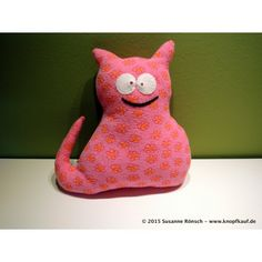 Stofftier Katze Kuschelkatze Kuscheltier, genäht, rosa mit Blümchen
