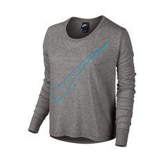 Women's Nike Long-Sleeve Large Swoosh Prep T-Shirt ($15) ❤ liked on Polyvore featuring tops, t-shirts, long sleeve t shirts, polyester t shirts, long sleeve polyester t shirts, relaxed fit tee and drapey top